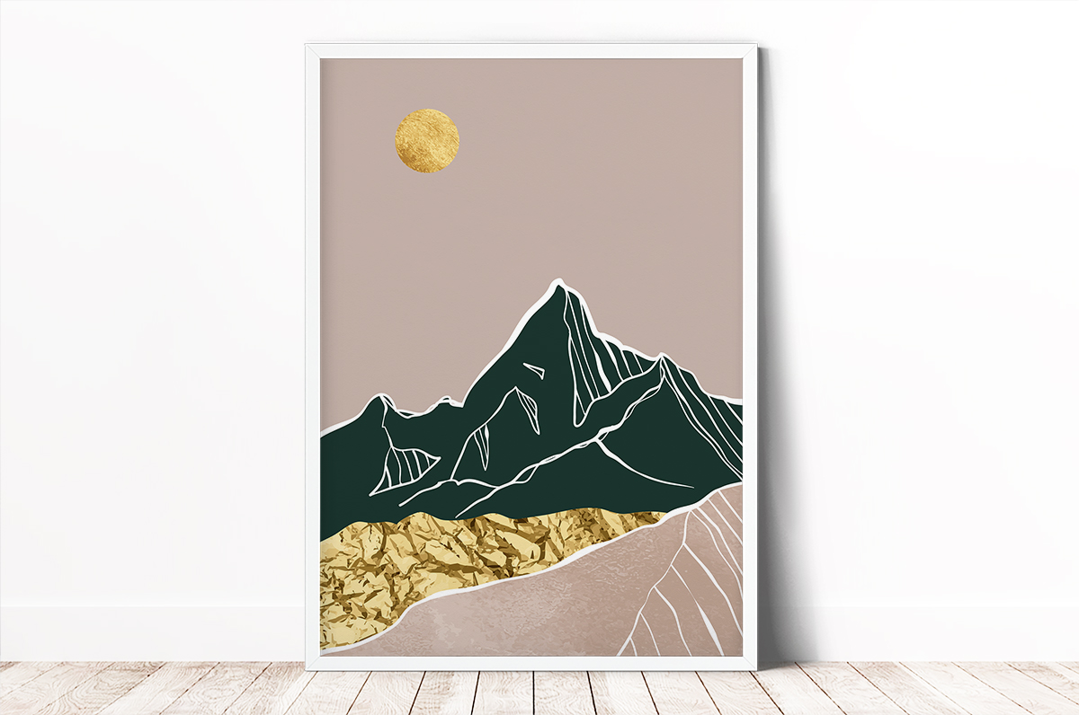 Plakat - Góry zielono-różowe - kolaż - fototapeta.shop