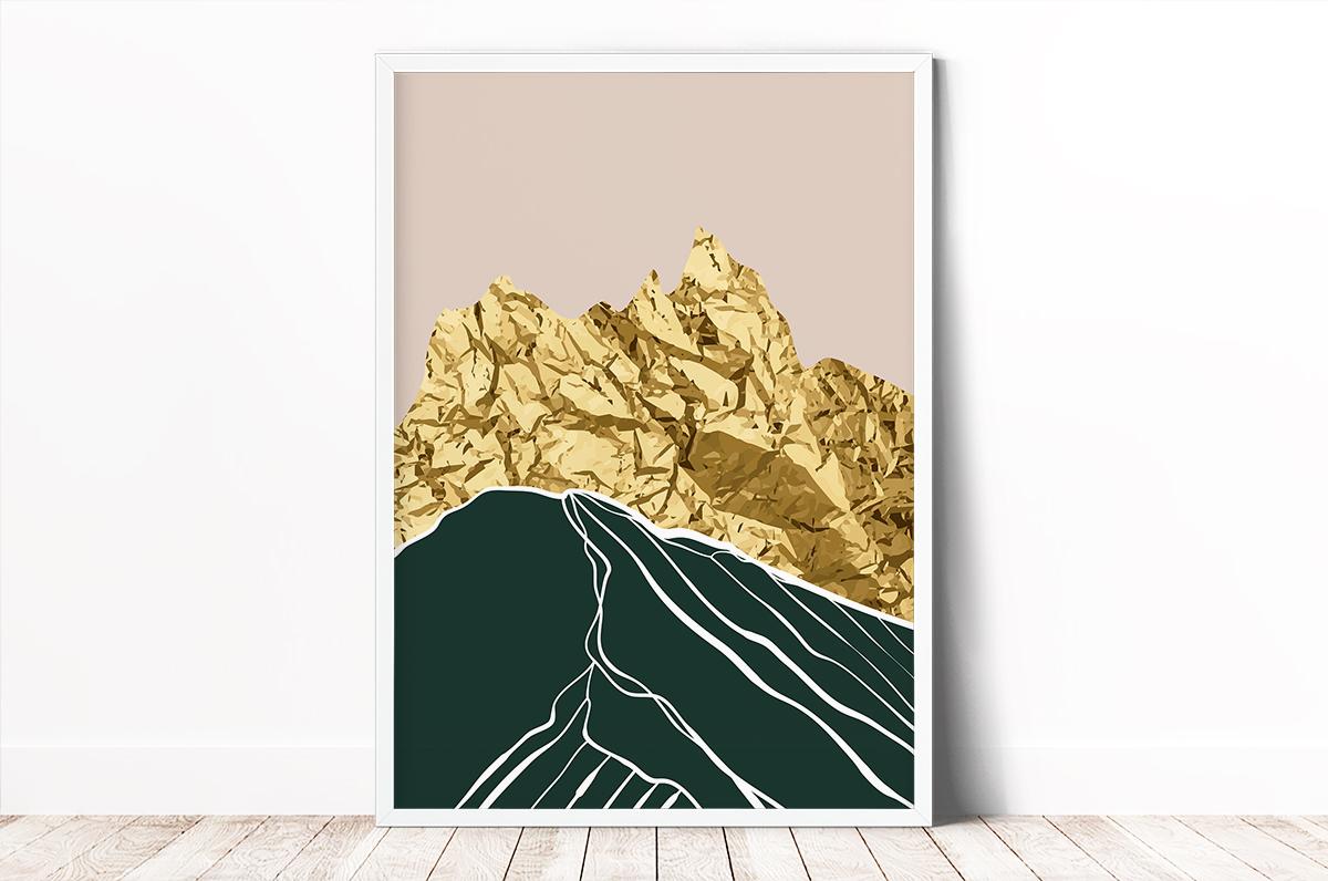 Plakat - Góry z gniecionego złota - fototapeta.shop