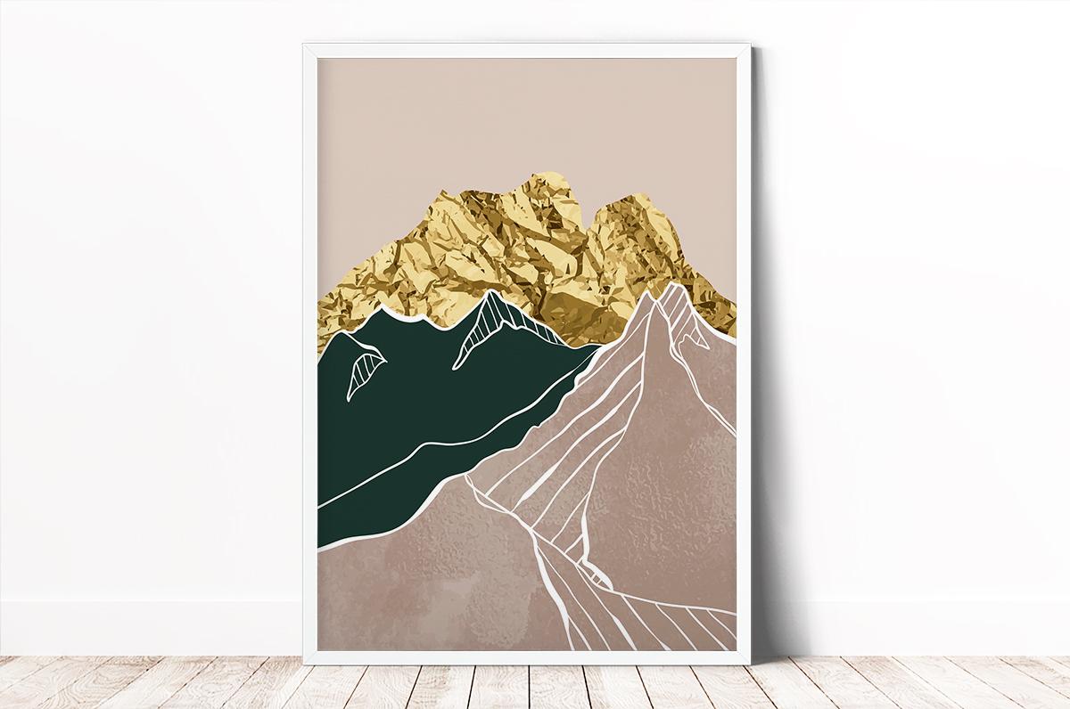 Plakat - Gniecione, złote góry - fototapeta.shop
