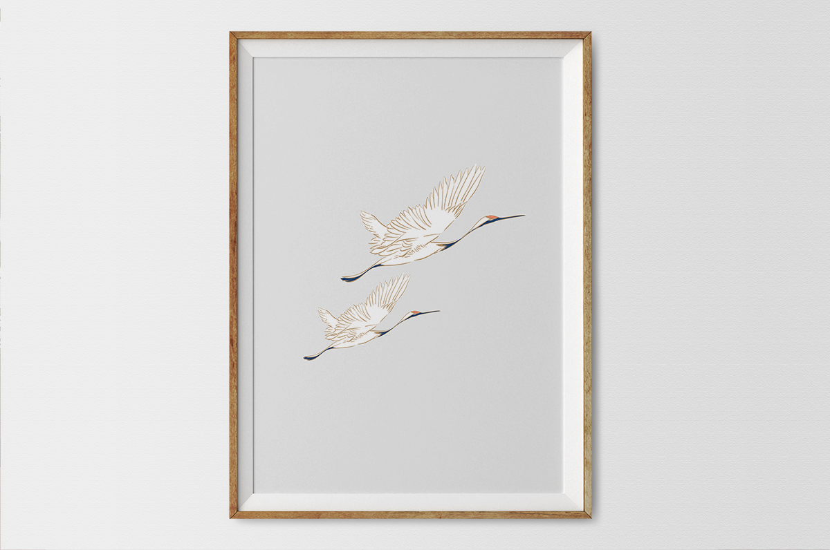 Plakat - Białe żurawie na szarym tle - fototapeta.shop