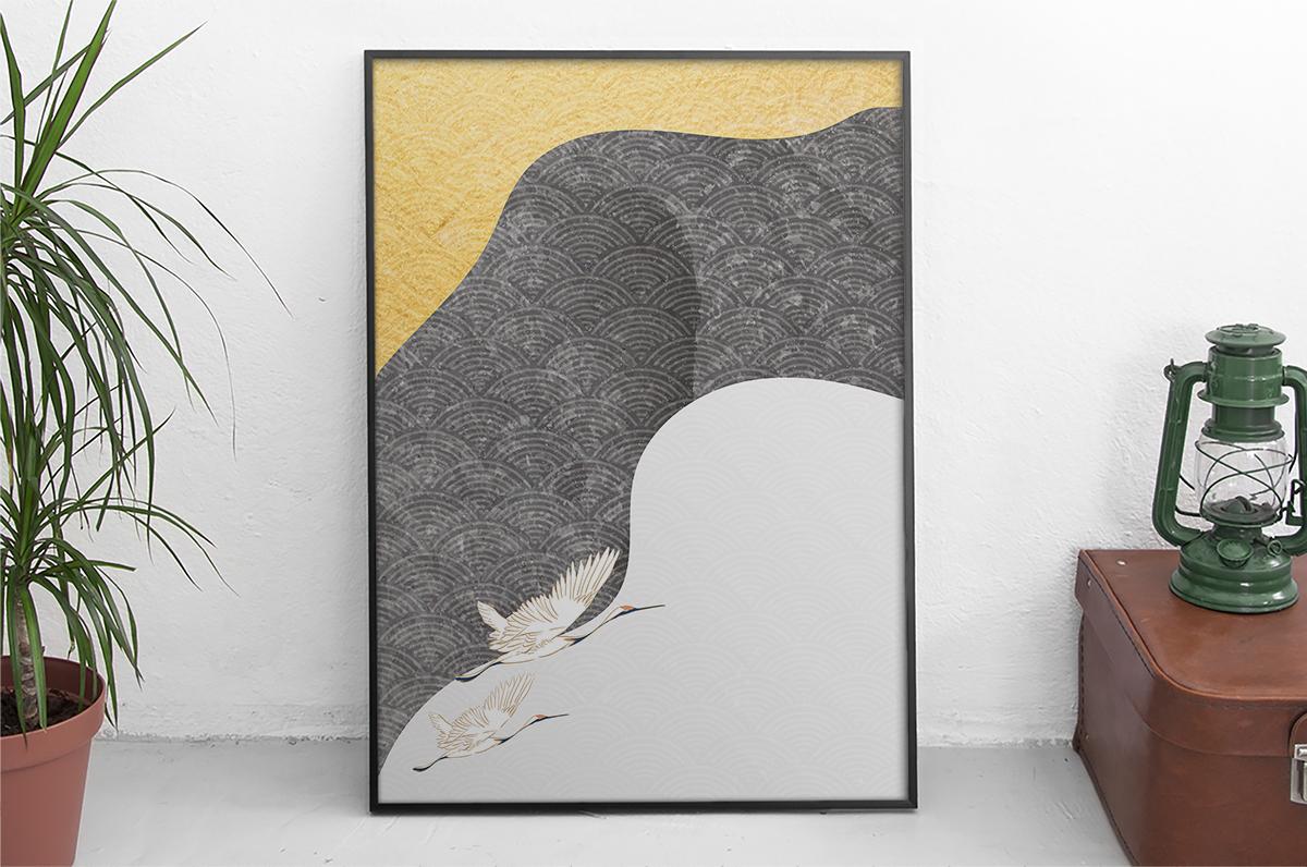 Plakat - Żurawie na rycinie - fototapeta.shop