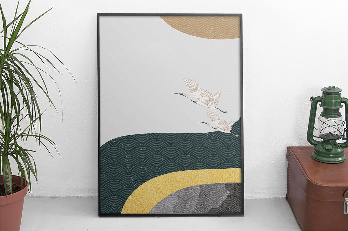 Plakat - Rycina japońska z ptakami - fototapeta.shop