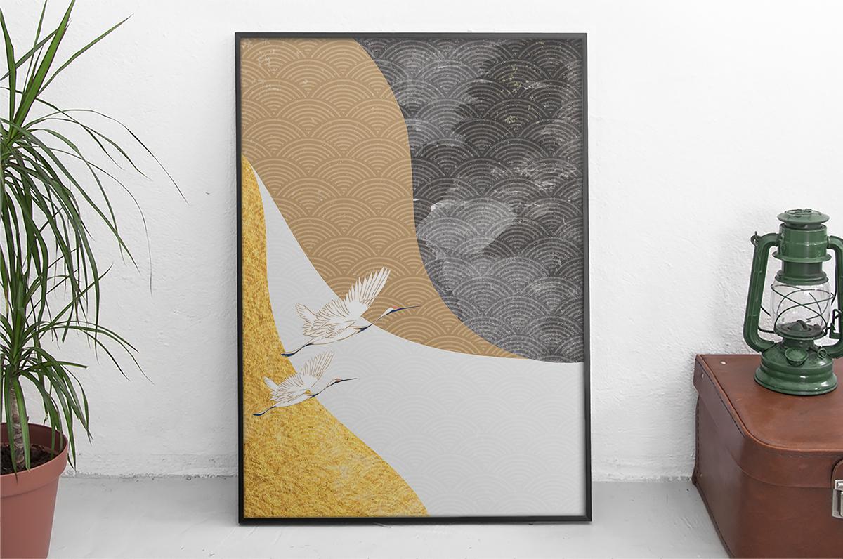 Plakat - Japońska rycina z żurawiami - fototapeta.shop