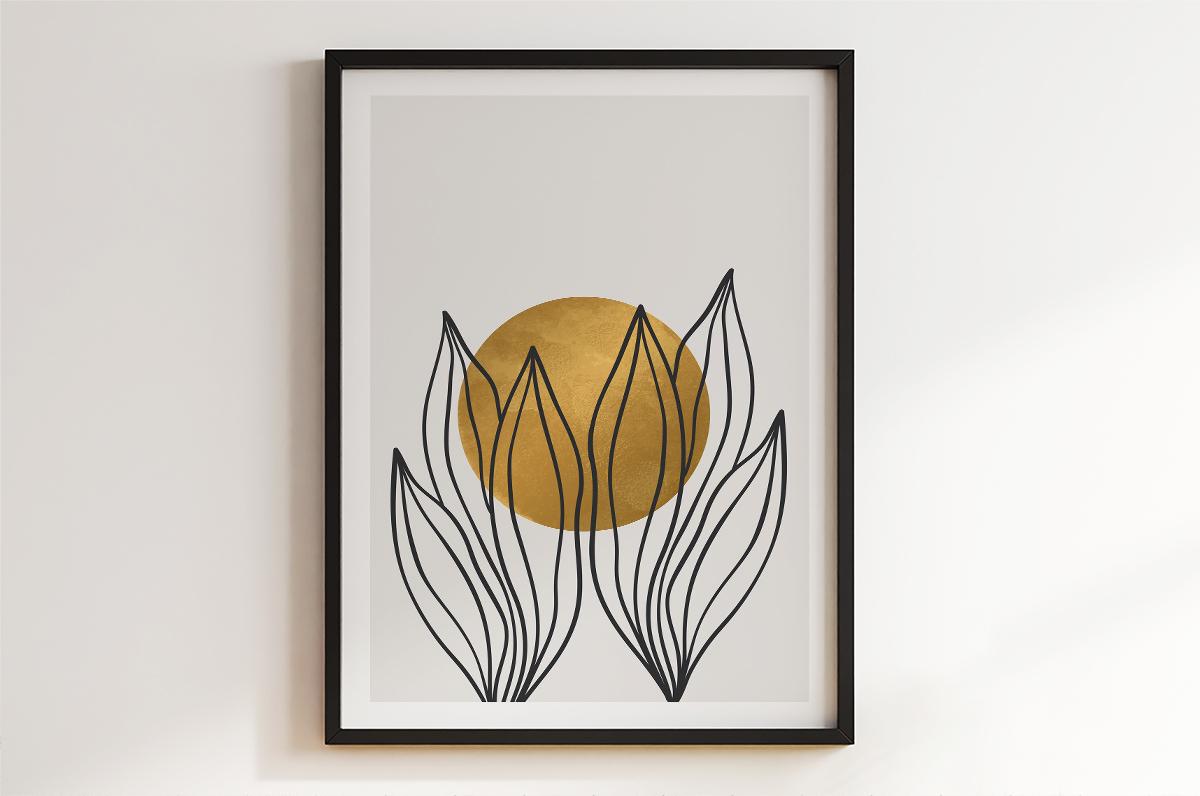 Plakat - Kontury liści z kulą w tle - fototapeta.shop