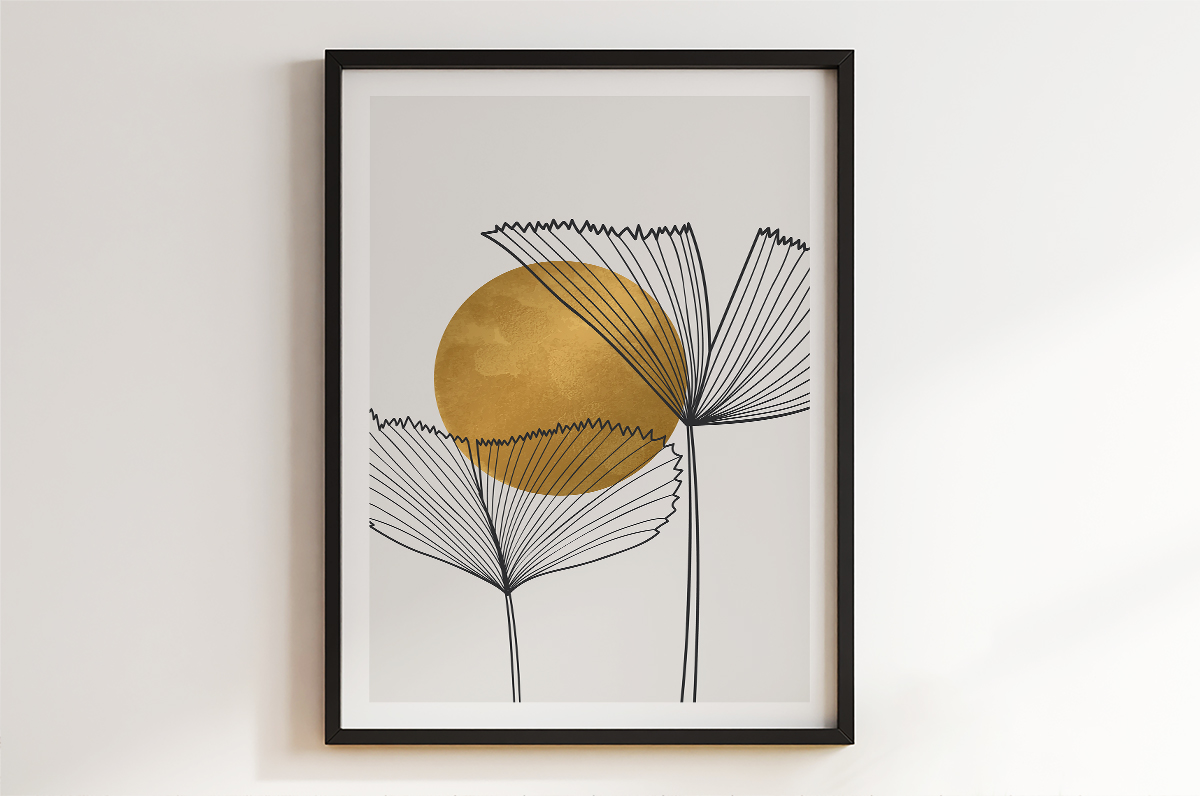 Plakat - Liście wachlarze szkic - fototapeta.shop