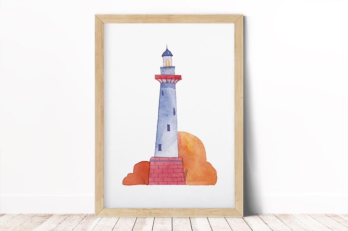 Plakat - Latarnia morska w akwareli - fototapeta.shop