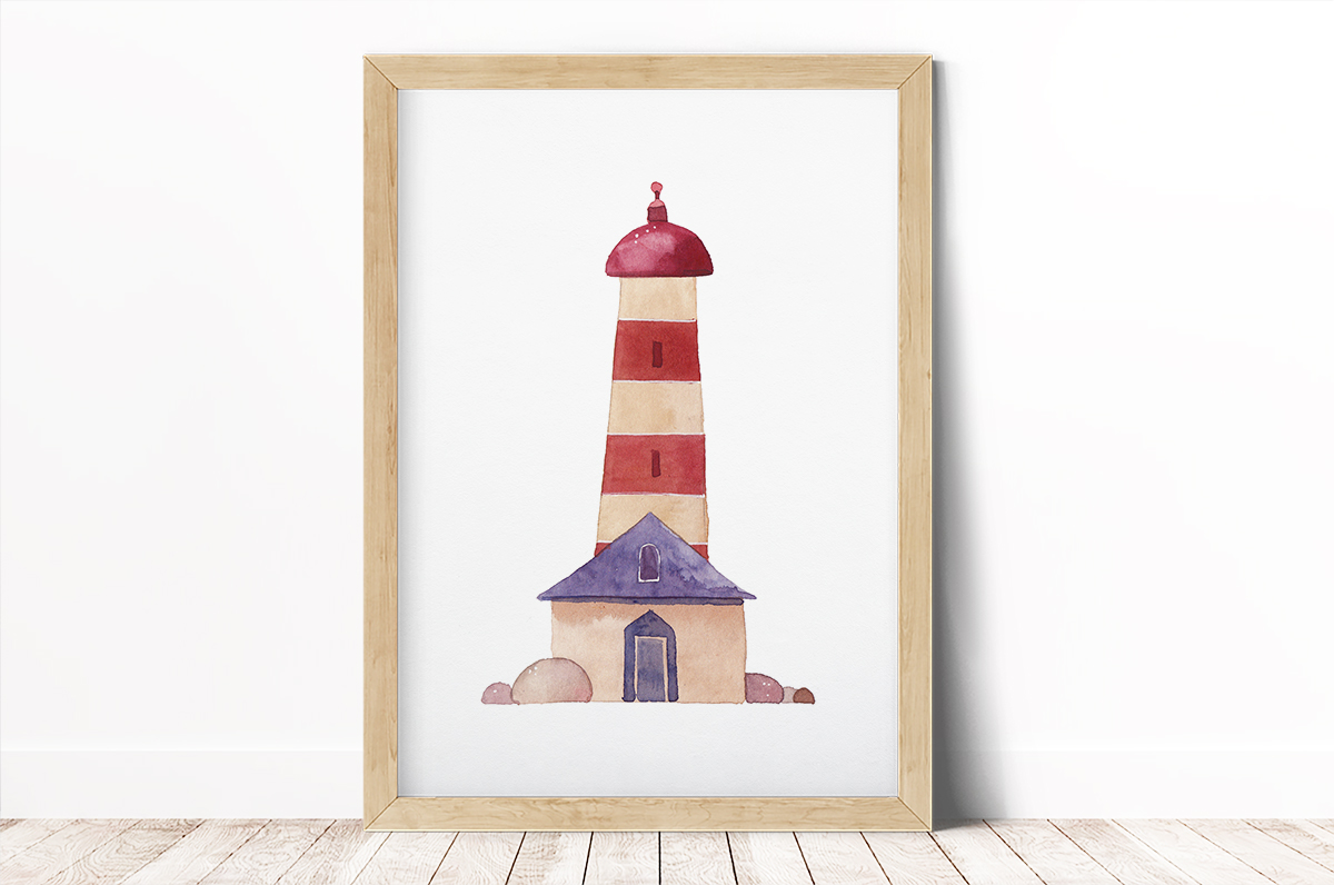 Plakat - Latarnia morska w pasy - fototapeta.shop