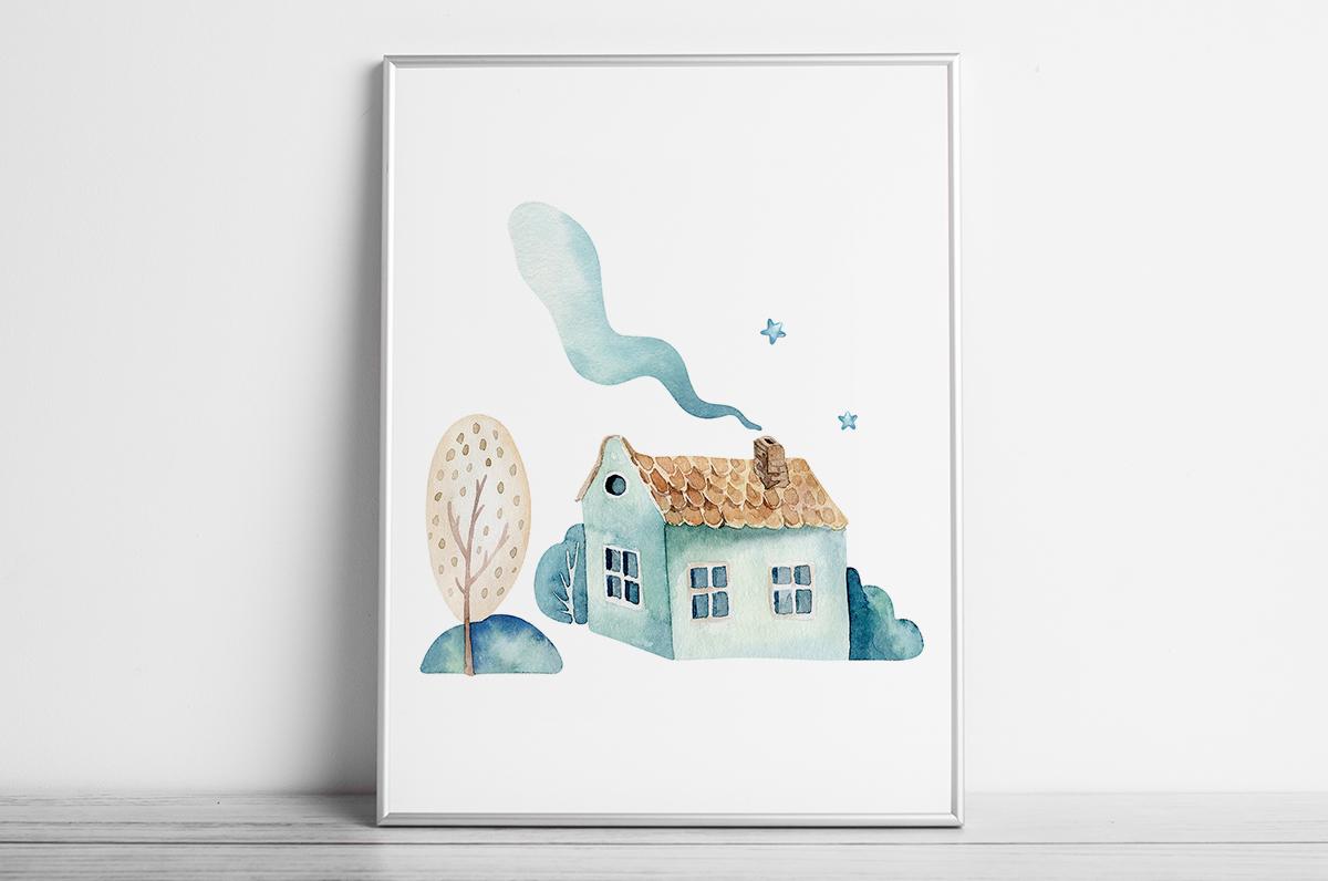 Plakat - Domek i drzewko - fototapeta.shop