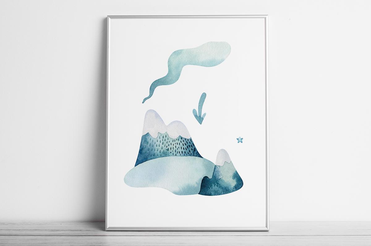 Plakat - Niebieskie,akwarelowe góry - fototapeta.shop