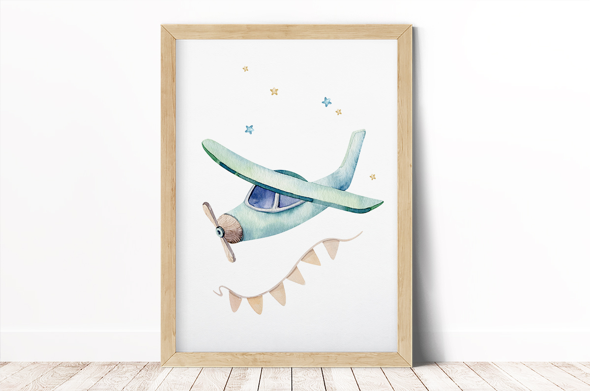 Plakat - Samolot i gwiazdki - fototapeta.shop