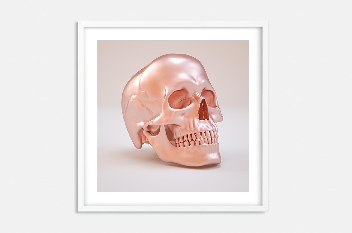 Plakat - Różowa czaszka - fototapeta.shop