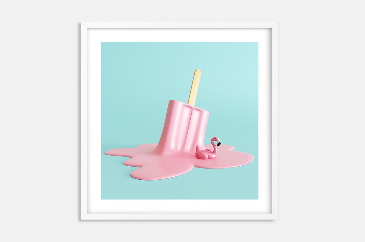 Plakat - Pop-Art różowy lód - fototapeta.shop