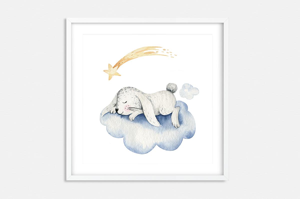 Plakat - Zajączek śpiący na chmurce - fototapeta.shop