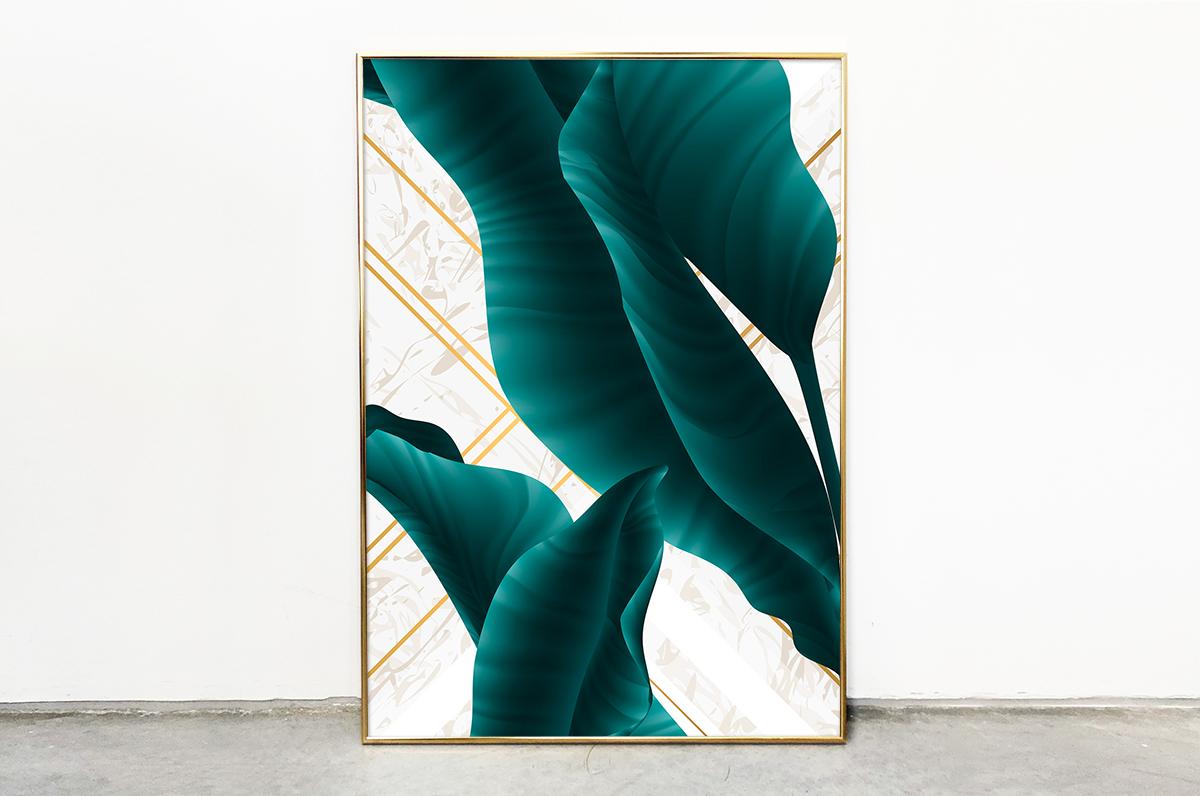 Plakat - Szmaragdowy liść w bieli - fototapeta.shop