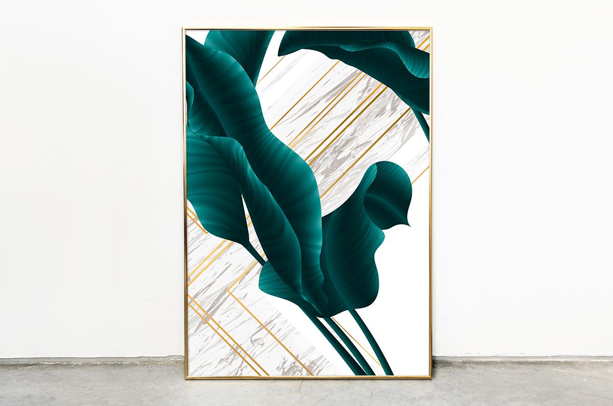 Plakat - Szmaragdowy liść na białym tle - fototapeta.shop