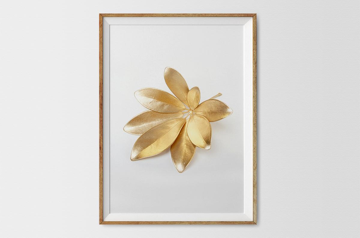 Plakat - Liść w kolorze złota - fototapeta.shop