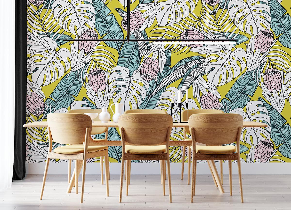 Tapeta - Egzotyczne kolorowe liście - fototapeta.shop