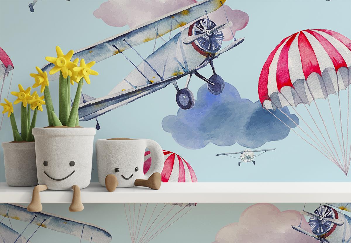 Tapeta - Samoloty na błękicie - fototapeta.shop