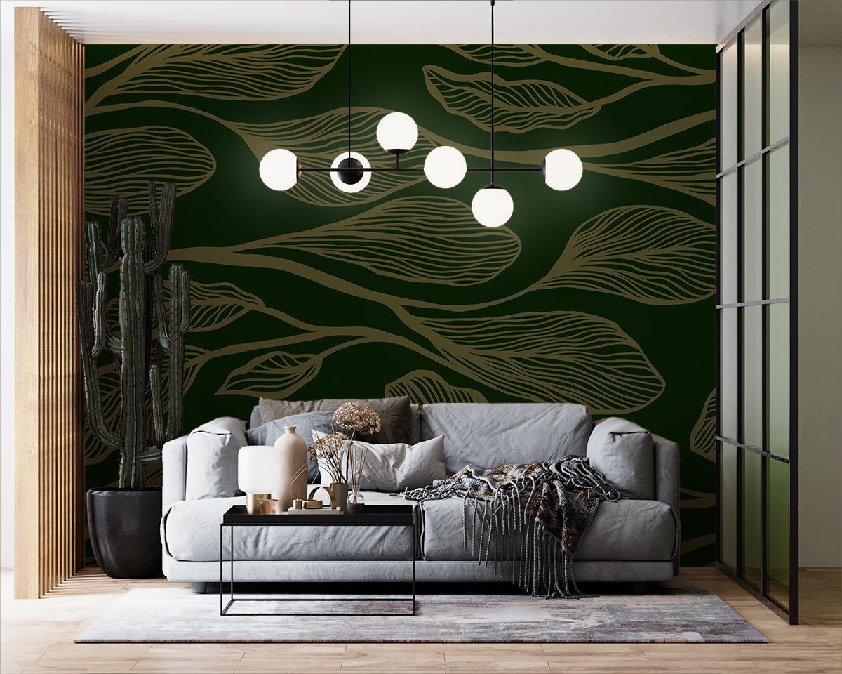 Tapeta - Duże, poziome beżowe liście na ciemnozielonym tle - fototapeta.shop