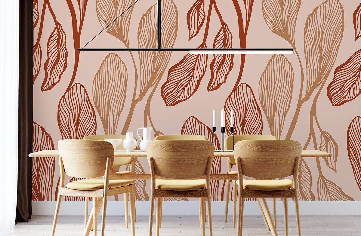 Tapeta - Długie liście w dwóch odcieniach na różowym tle - fototapeta.shop
