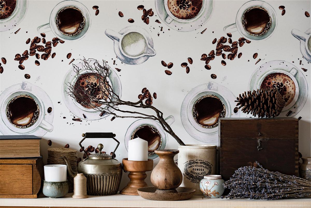 Tapeta - Filiżanki z kawą - fototapeta.shop