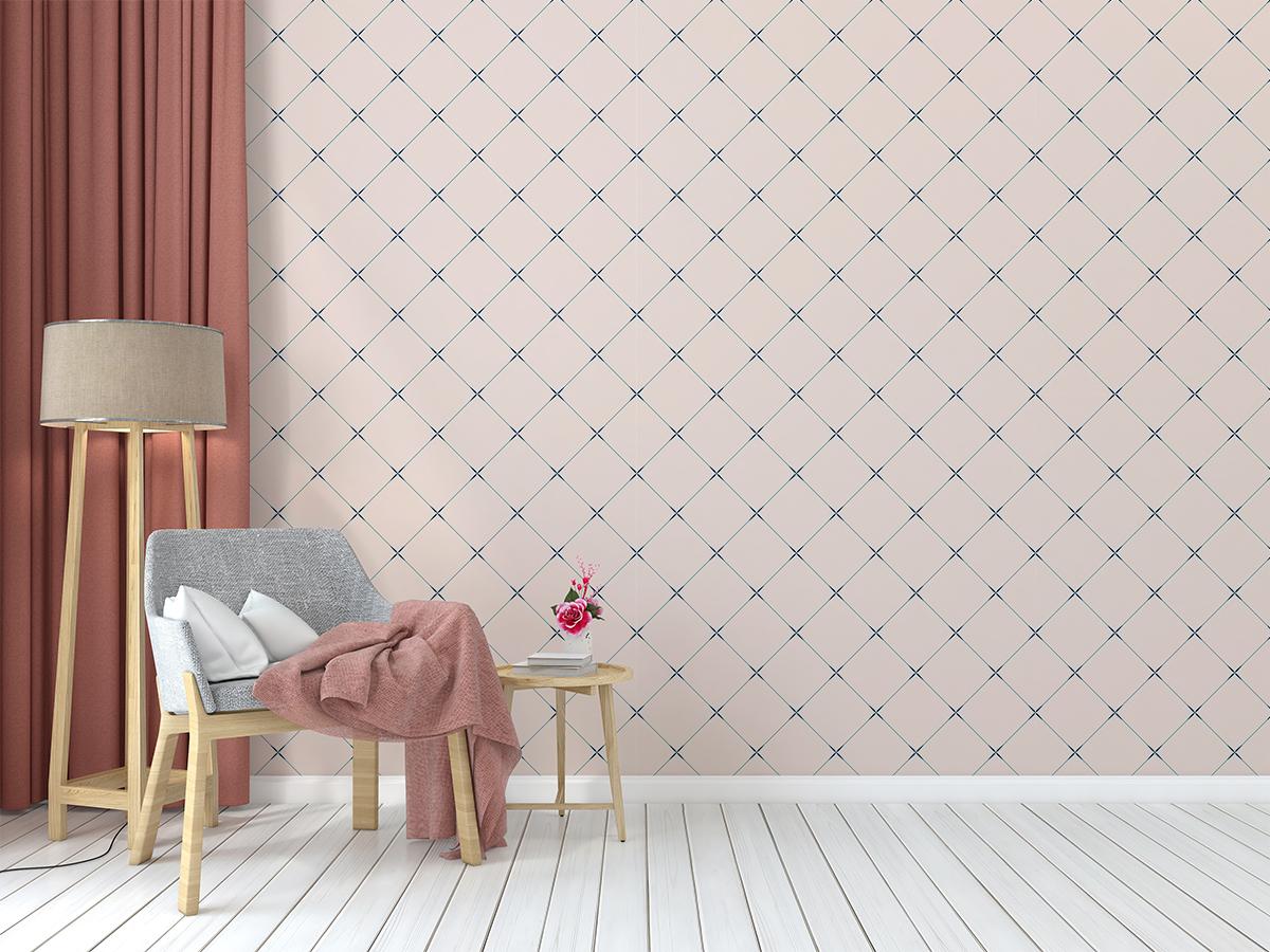 Tapeta - Drobny, geometryczny wzór w różu - fototapeta.shop