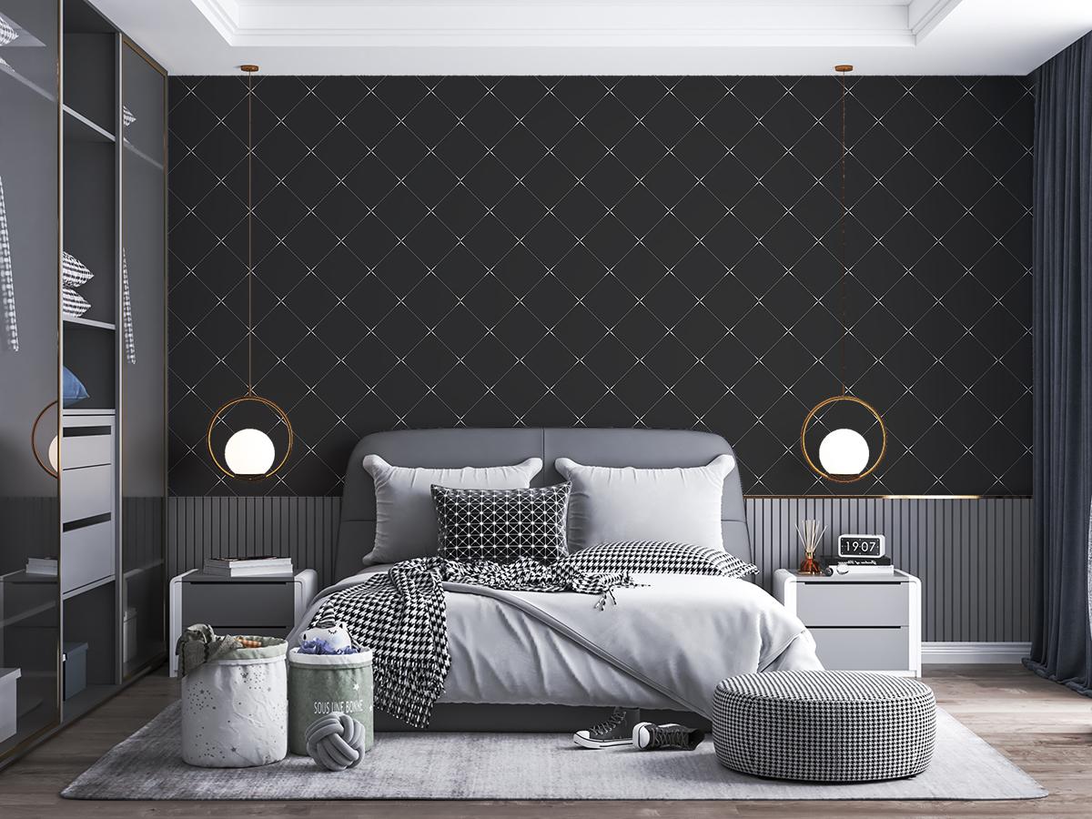 Tapeta - Drobny, geometryczny wzór w czerni - fototapeta.shop