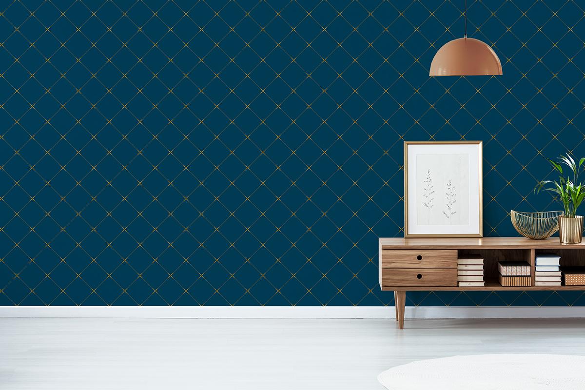 Tapeta - Drobny, geometryczny wzór w granacie - fototapeta.shop
