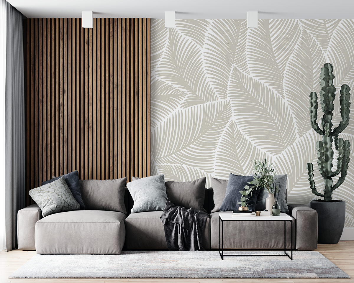 Tapeta - Tekstura z liści w beżach - fototapeta.shop