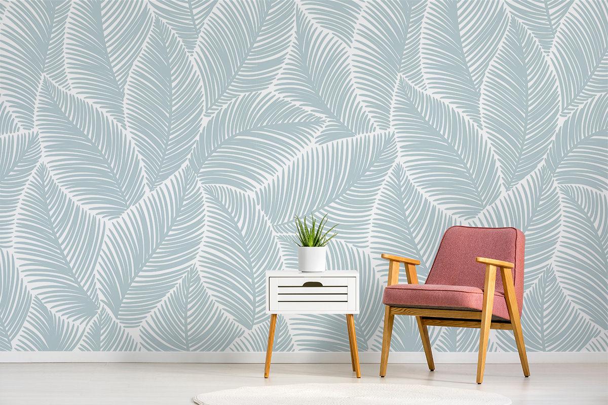 Tapeta - Tekstura z liści w błękitach - fototapeta.shop