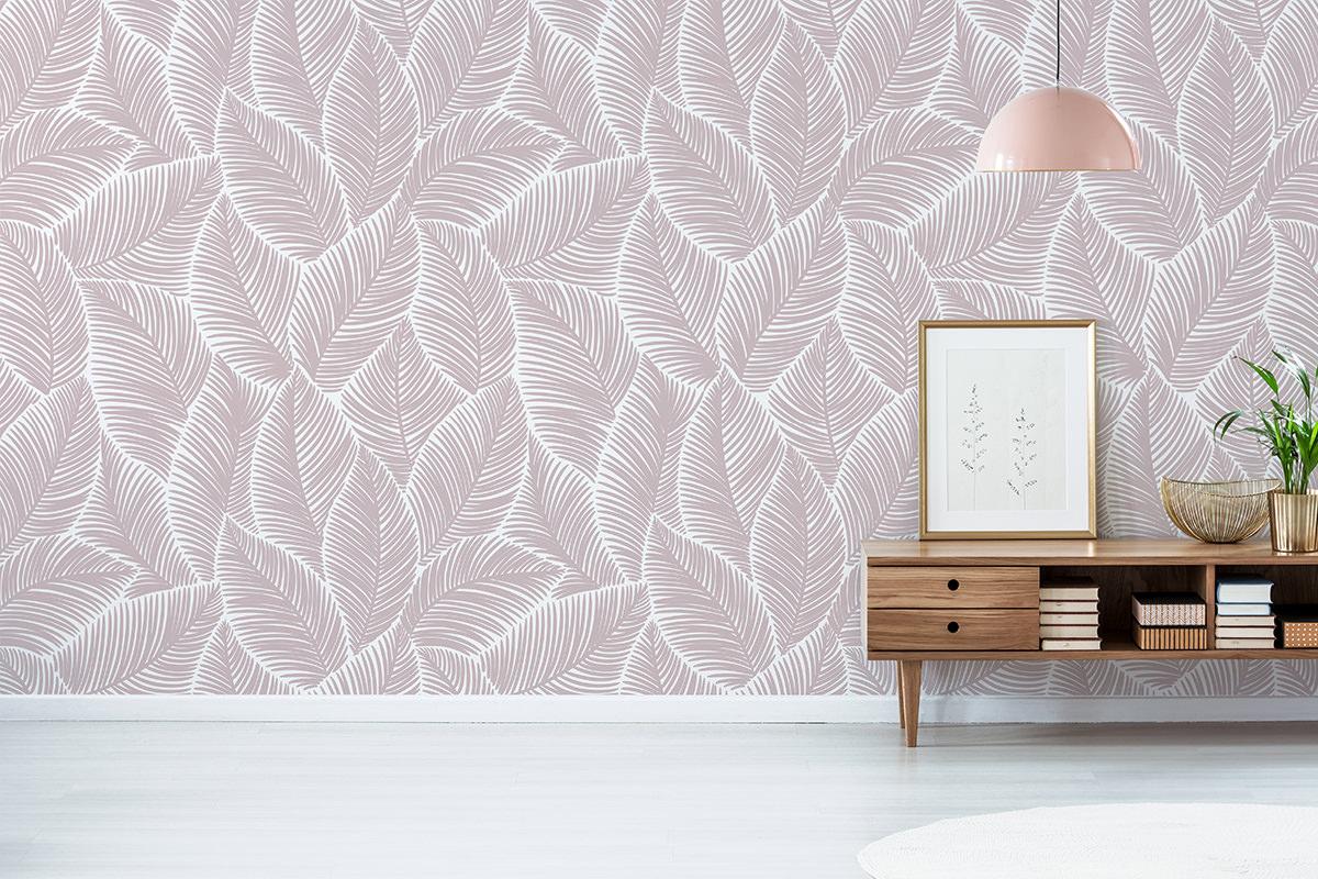 Tapeta - Tekstura z liści w różu - fototapeta.shop