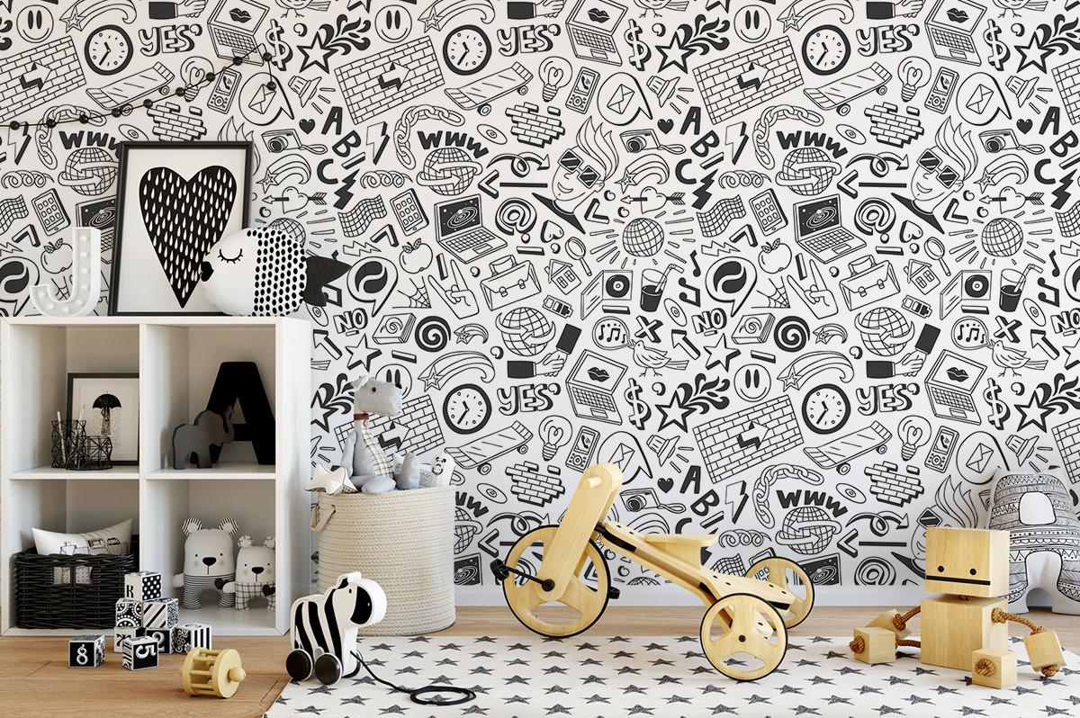 Tapeta - Czarno-białe ikonki - fototapeta.shop