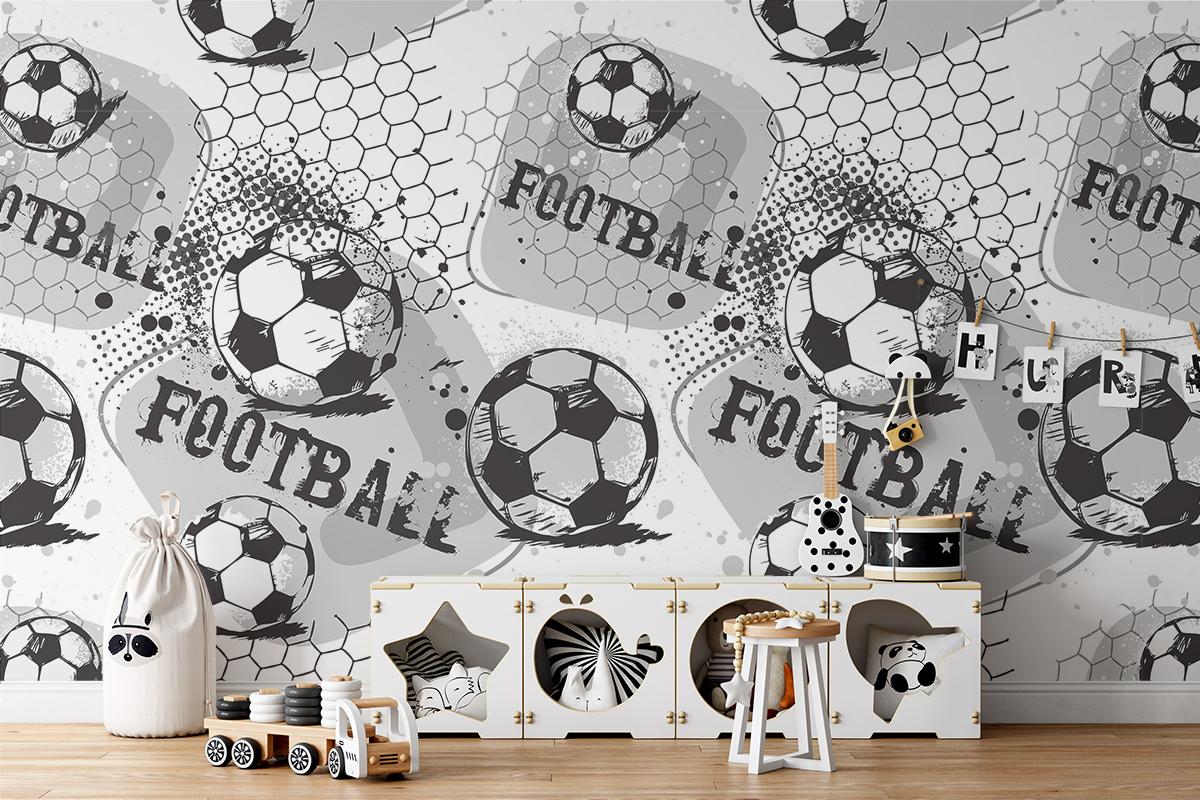 Tapeta - Piłka nożna w skali szarości - fototapeta.shop