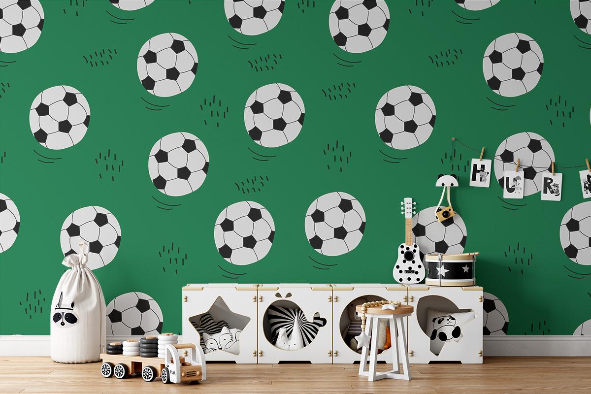Tapeta - Piłki na murawie - fototapeta.shop