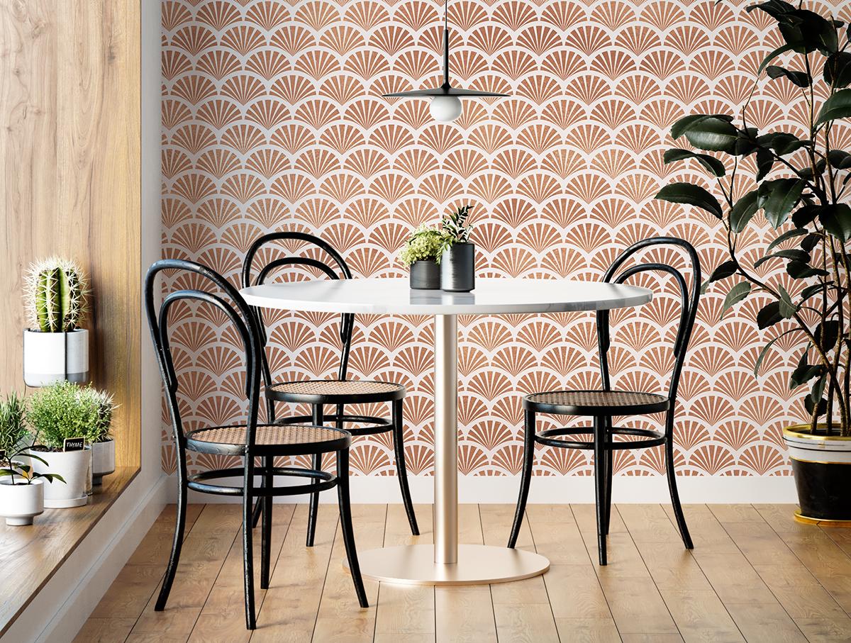 Tapeta - Geometryczne różowe wachlarze - fototapeta.shop