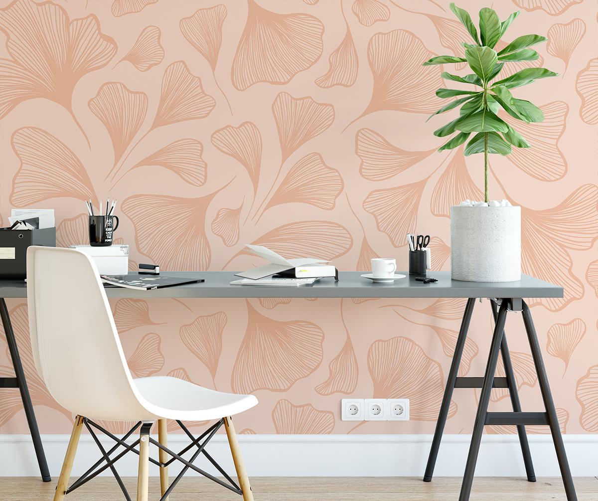 Tapeta - Drobne listki miłorzębu na różowym tle - fototapeta.shop