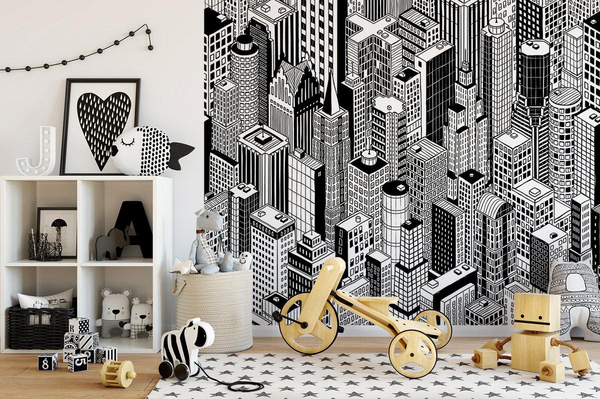 Tapeta - Wieżowce w czerni i bieli - fototapeta.shop