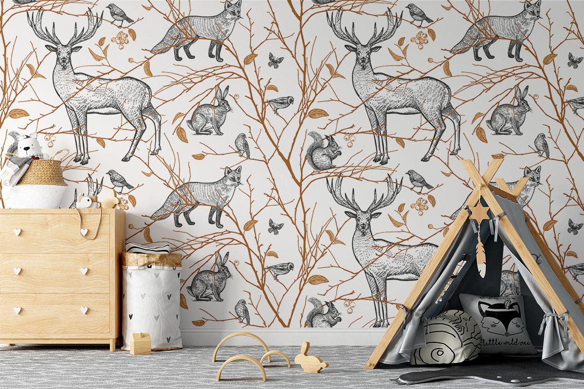 Tapeta - Zwierzęta w złotym lesie - fototapeta.shop