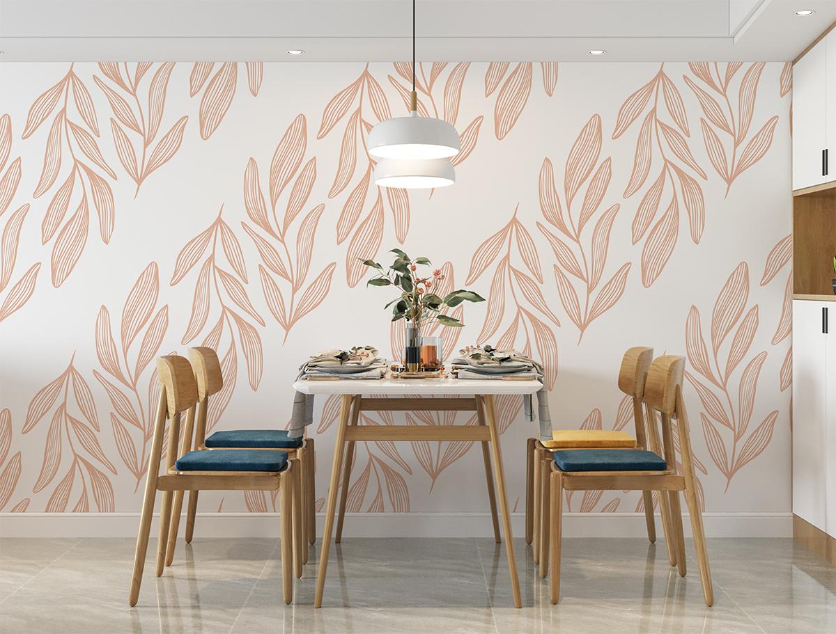 Tapeta - Różowe, pionowe liście na białym tle - fototapeta.shop