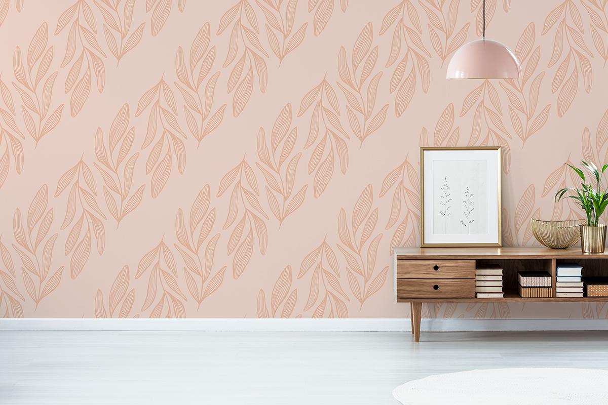Tapeta - Różowe, pionowe liście na różowym tle - fototapeta.shop