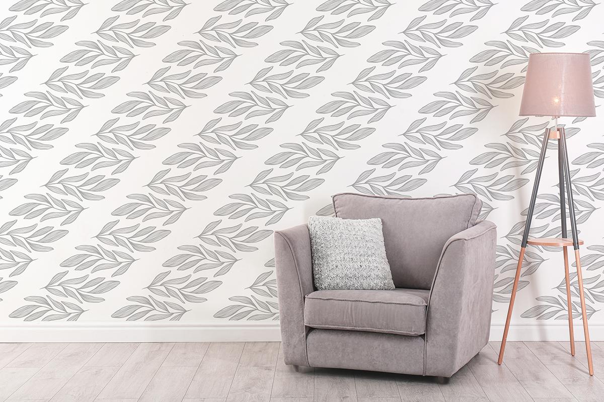 Tapeta - Szare, poziome liście na białym tle - fototapeta.shop