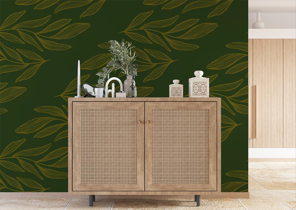 Tapeta - Żółte, poziome liście na ciemno-zielonym tle - fototapeta.shop