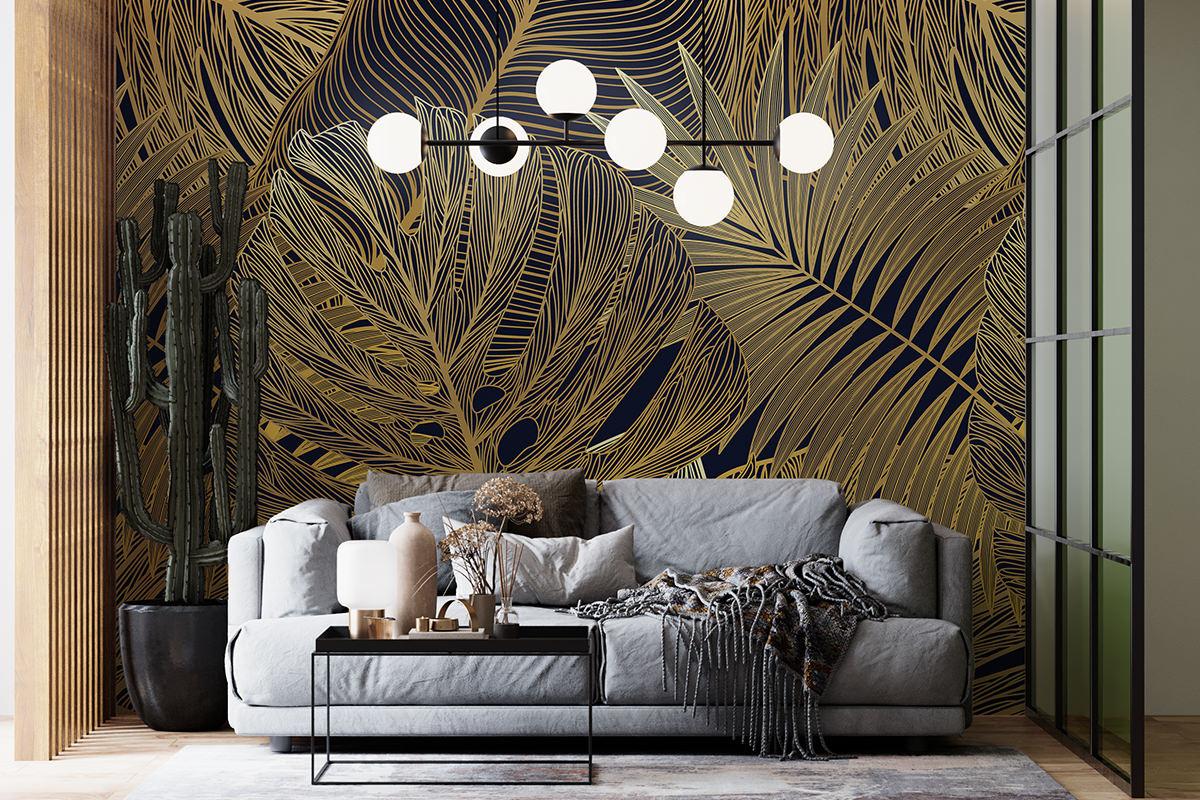 Tapeta - Złote liście na ciemnym tle - fototapeta.shop