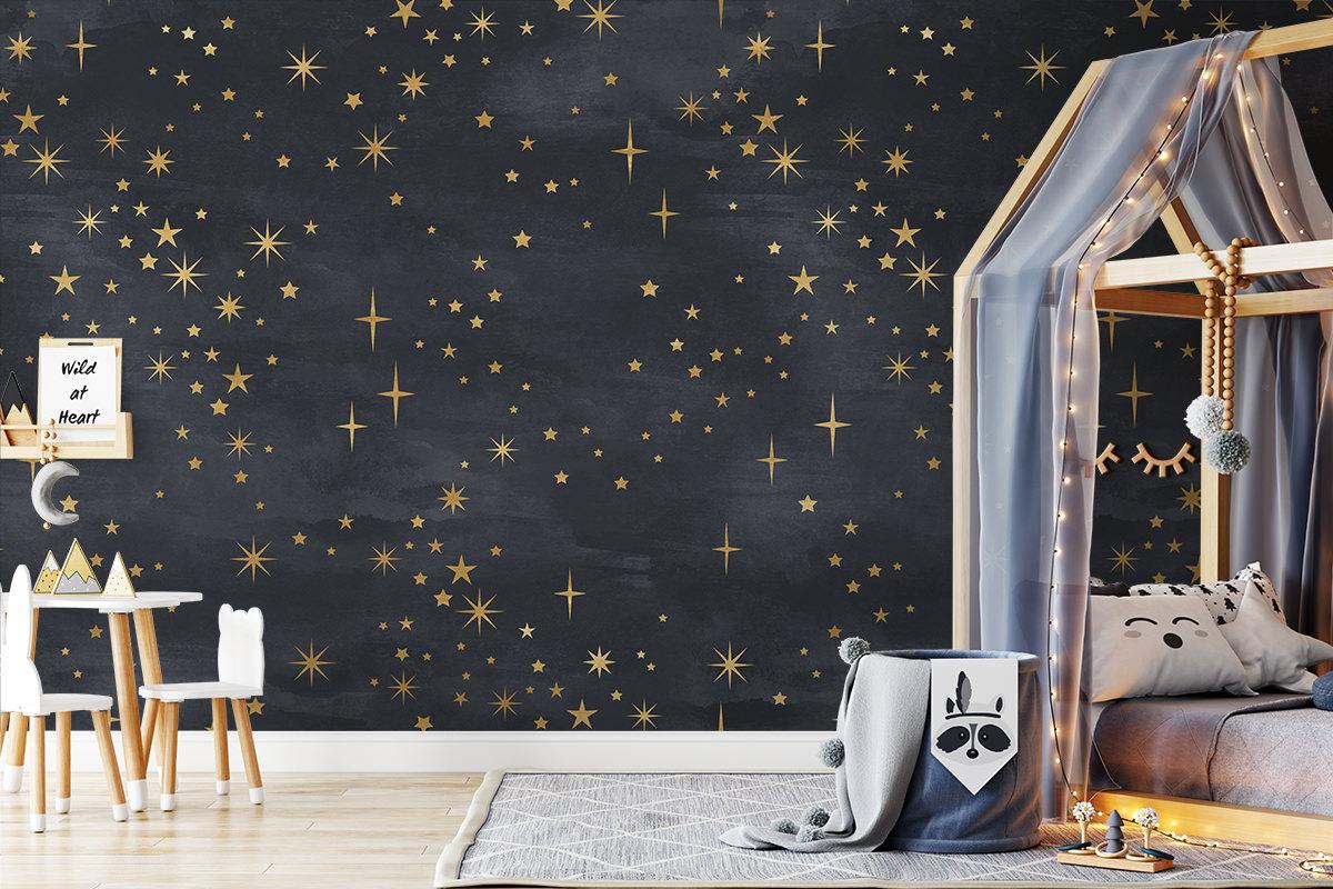 Tapeta - Złote gwiazdy na granacie - fototapeta.shop