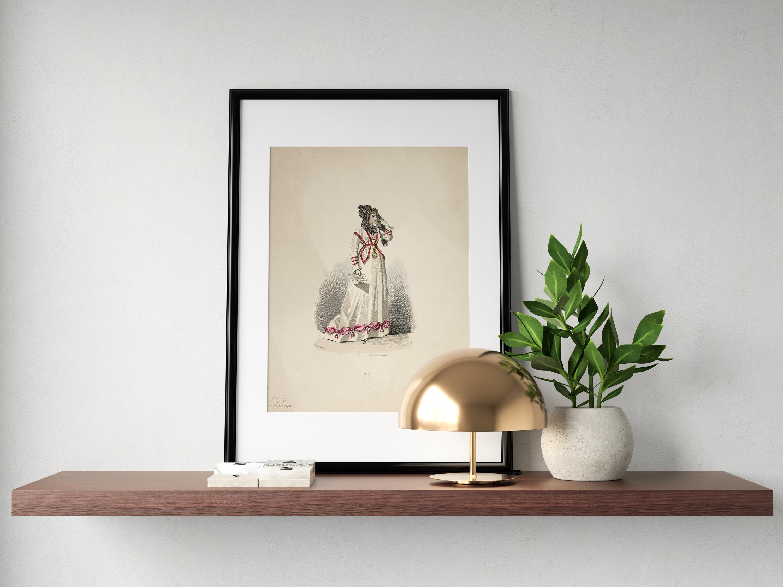 Plakat - Oryginalna suknia paryska - Lacouriere, Rytownik - fototapeta.shop