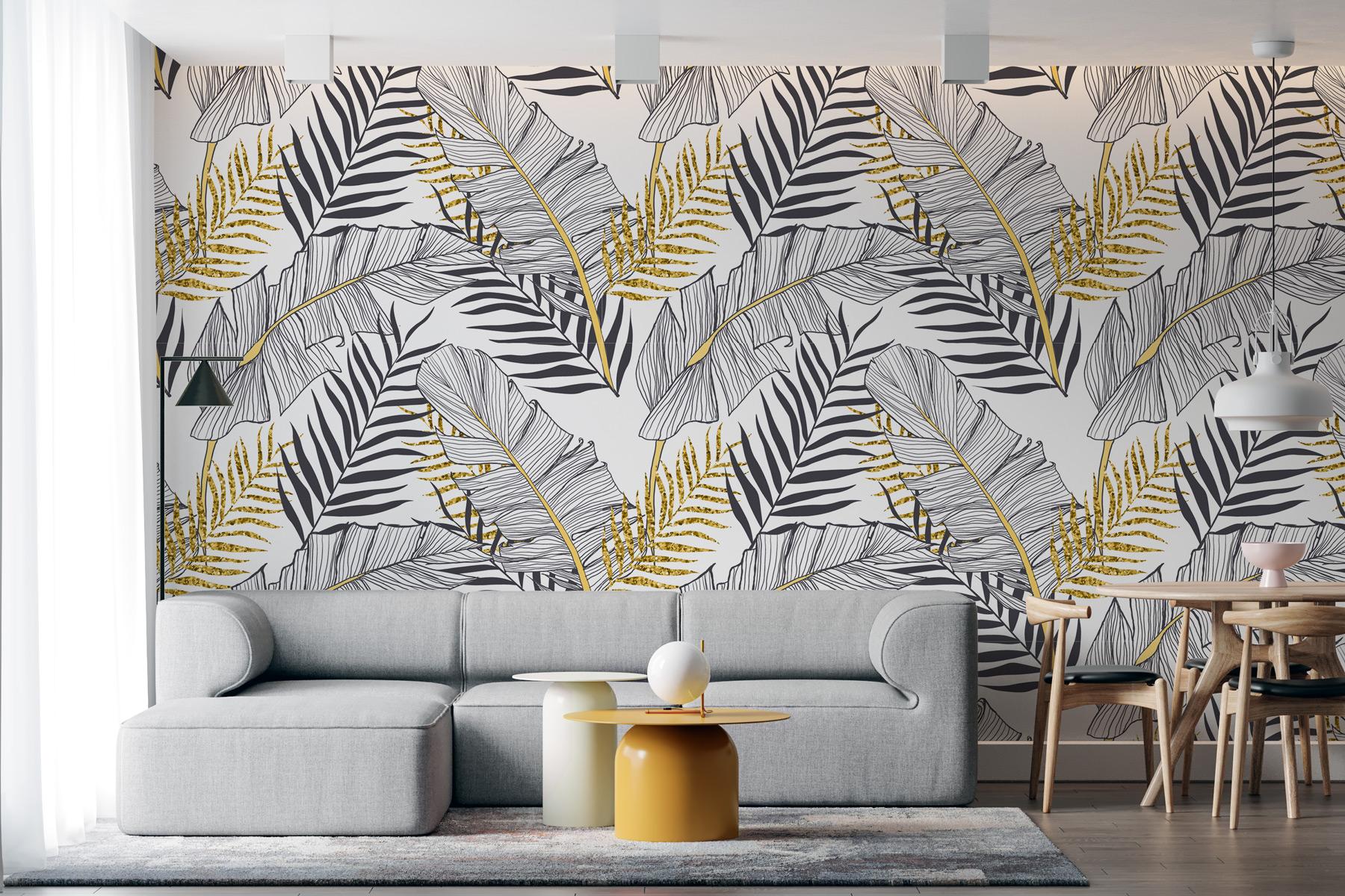 Tapeta - Jednobarwne liście palmowe - fototapeta.shop