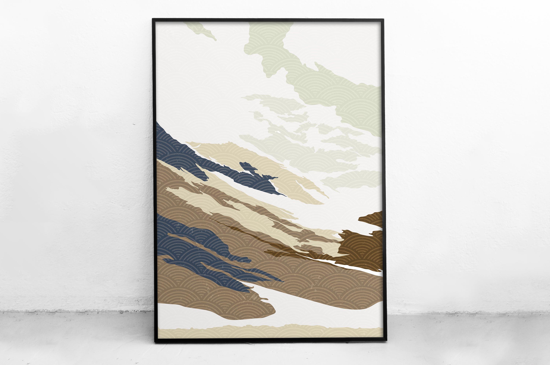 Plakat - Góry w stylu japońskim - fototapeta.shop