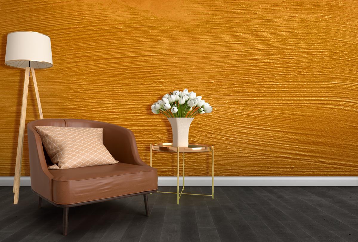 Fototapeta - Złota farba na ścianie - fototapeta.shop