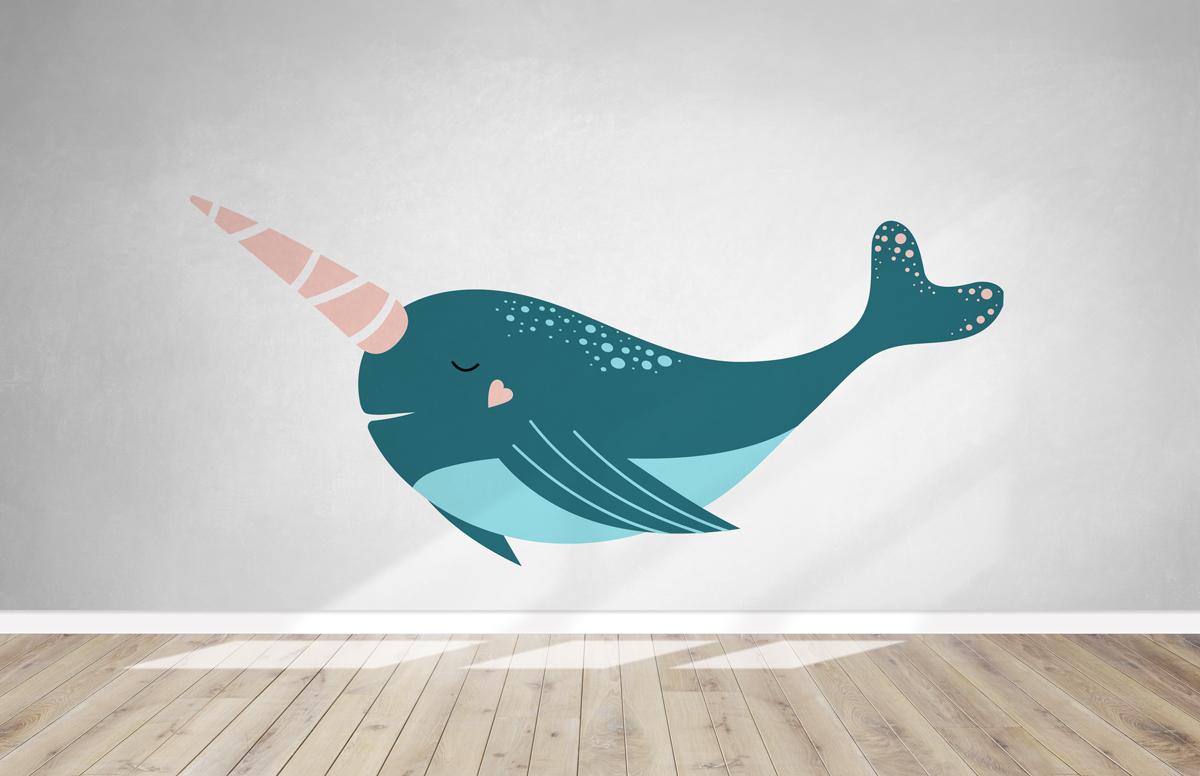 Naklejka - Wieloryb jednorożec - fototapeta.shop