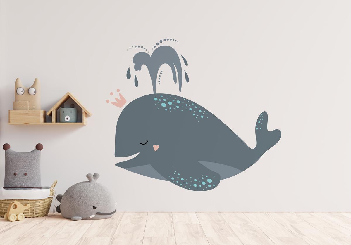 Naklejka - Szary wieloryb - fototapeta.shop